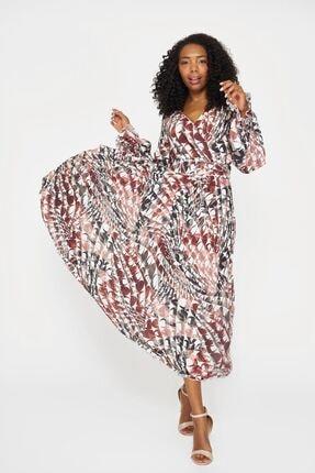 Batik Kadın Mercan Desenli Casual Uzun Kol Elbise Y42565