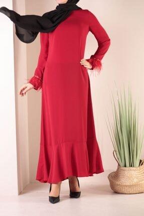 ALLDAY Kadın Kırmızı Kol Ağzı Detaylı Elbise
