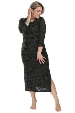 ANGELINO Kadın Siyah Yanı Yırtmaçlı Uzun Elbise