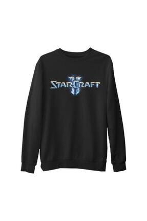 Lord Erkek Siyah Starcraft Logo Kalın Sweatshirt
