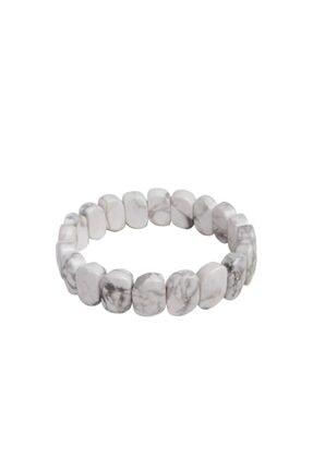 Saff Doğal Taş Unisex Beyaz Havlit Doğal Taş Kare Bileklik 210309