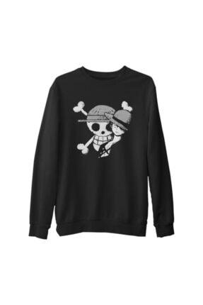 Lord Unisex Siyah One Piece Luffy Straw Hat Kalın Sweatshirt