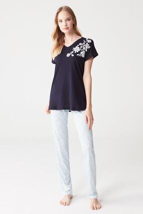 Mod Collection Kadın Lacivert 3 Lü Pijama Takımı