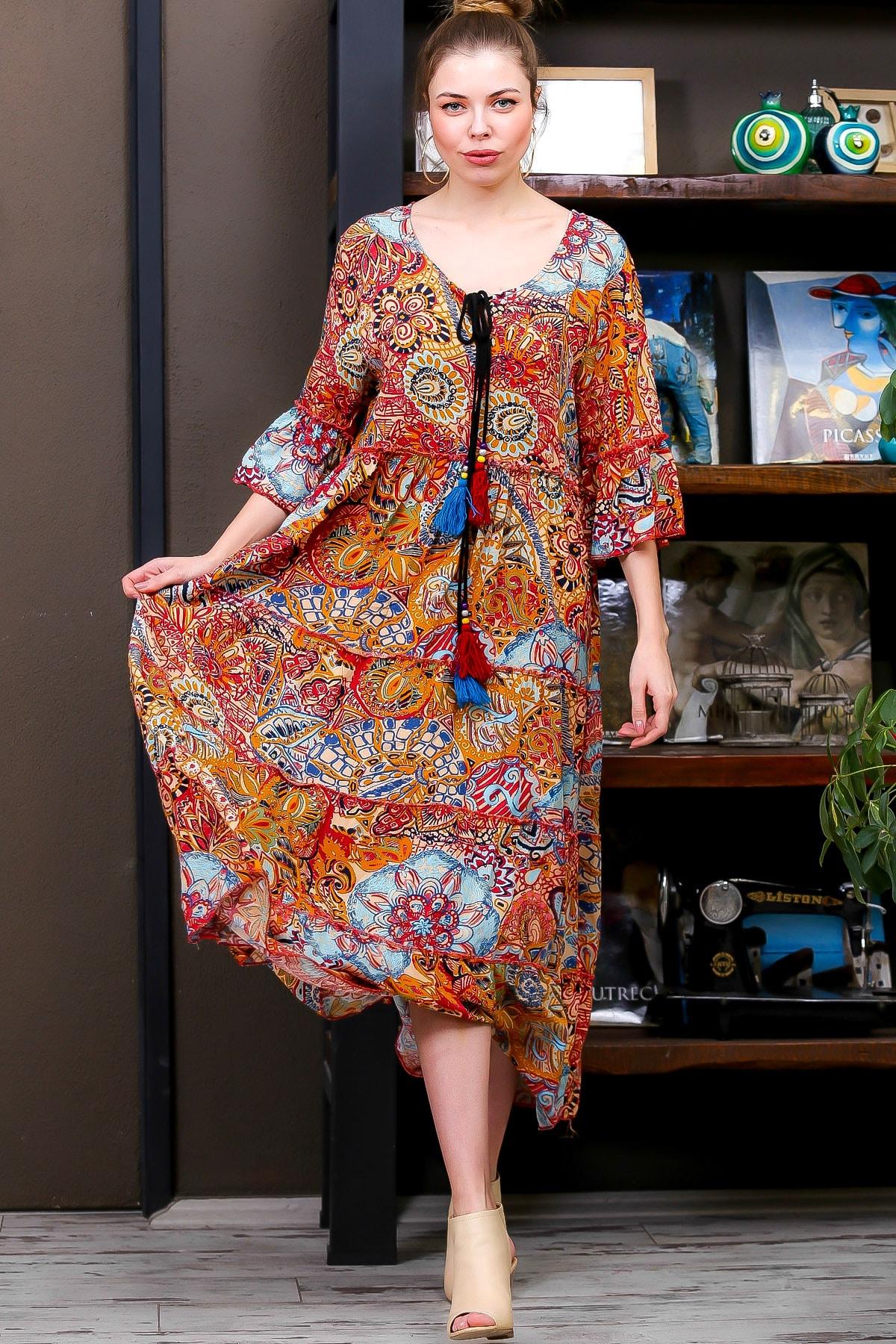 Chiccy Kadın Kiremit  Ottoman Desenli Püskül Bağcıklı Kat Kat Salaş Uzun Elbise M10160000EL95626