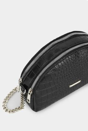 Housebags Kadın Siyah Çok Bölmeli Krokodil Omuz Çantası 204