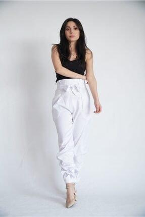 Lila Rose Kadın Beyaz Paça Bağlamalı Yüksek Bel Saten Pantolon