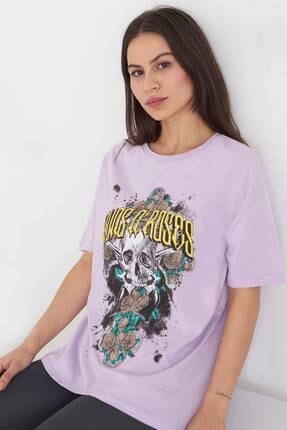 Addax Kadın Lila Baskılı T-Shirt P0614 - L2 Adx-0000017057