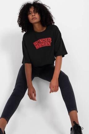 Addax Kadın Siyah Yazı Detaylı T-Shirt P0985 - S12 Adx-0000022466