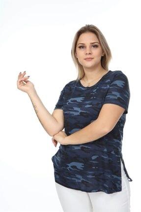 Seamoda Kadın Mavi Yuvarlak Yaka Kamuflaj Desen Yanı Yırtmaçlı Tshirt