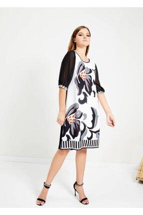Cazador Kadın Siyah Desenli Fermuarlı Elbise