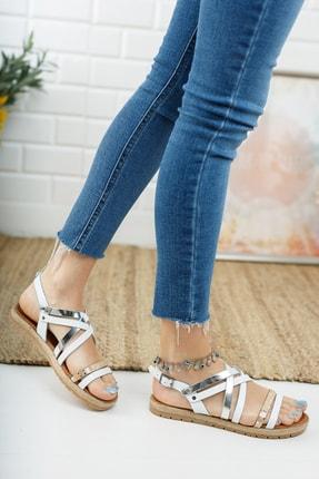 Deripabuc Hakiki Deri Beyaz Gümüş Kadın Deri Sandalet Rma-7193