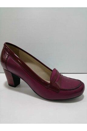 GÖN Kadın Bordo Gerçek Deri Topuklu Ayakkabı