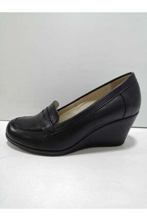 GÖN Kadın Siyah Hakiki Deri Dolgu Topuklu Ayakkabı
