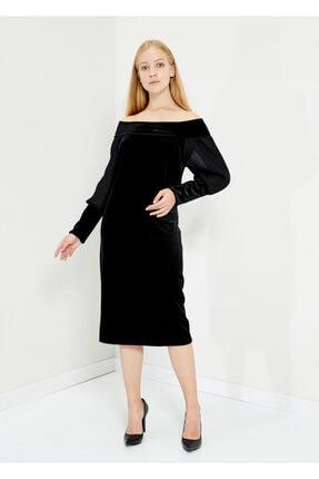 Cazador Kadın Siyah Kadife Elbise