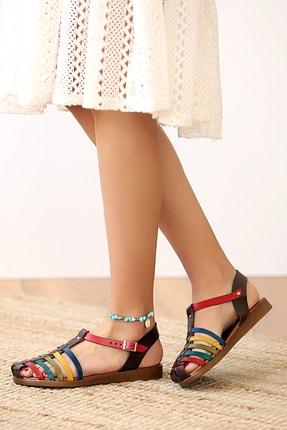 Pembe Potin Kadın Kahverengi Hakiki Deri Multi Sandalet