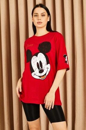 Hadise Mouse Baskılı Boyfriend Tshirt Kırmızı