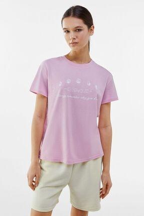 Bershka Kadın Pembe Desenli T-shirt