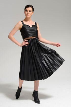 Batik Kadın Siyah Suni Deri Düz Casual Etek A1010