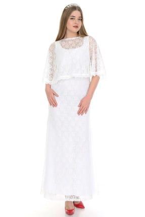 ANGELINO Kadın Beyaz Uzun Abiye Dantelli Elbise PNR037