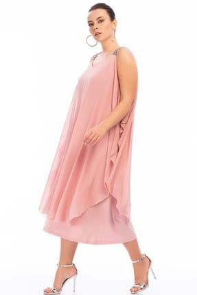 ANGELINO Kadın Pudra Omuzları Taşlı Askılı Şifon Elbise KL805