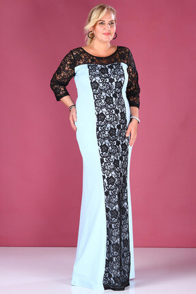 Nesrinden Kadın Dantel İşlemeli Mavi Abiye ELB000138330