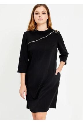 Cazador Kadın Siyah Fermuar Göğüs Detaylı Elbise
