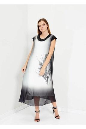 Cazador Kadın Siyah Taş Detaylı Uzun Kolsuz Elbise