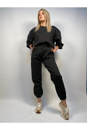 Quzu Siyah Dalgiç Kumas Lastikli Pantolon