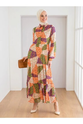 Loreen Kadın Turuncu Çiçek Desenli Elbise