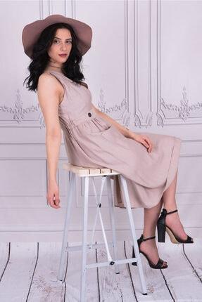 Batik Kadın Casual Yırtmaçlı Bej Renk Elbise