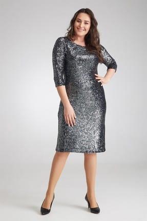 Seamoda Kadın Payet İşlemeli Elbise Gümüs Rengi-Bb PRA-236533-439078