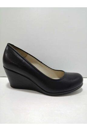 GÖN Kadın Siyah Deri Dolgu Topuklu Ayakkabı