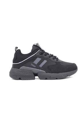 Jump 25739 Kadın Siyah Kalın Taban Spor Yürüyüş Sneaker Ayakkabı