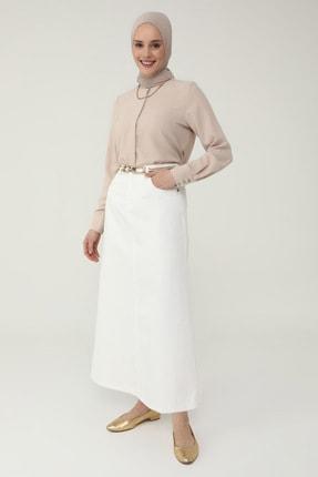 Refka Kadın Beyaz Doğal Kumaşlı Cep Detaylı Kot Etek Ekru Refka Casual 1854242