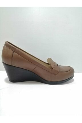 GÖN Kadın Kahverengi Hakiki Deri Dolgu Topuklu Ayakkabı