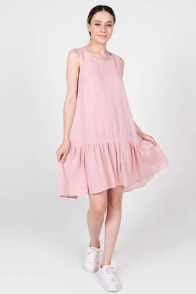 Addax Kadın Pudra Kolsuz Fırfırlı Elbise E8005 - K8 Adx-0000022630