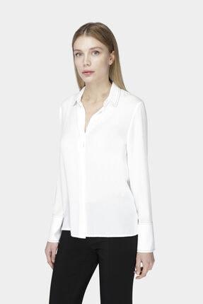 W Collection Beyaz Kontrast Dikiş Detaylı Bluz