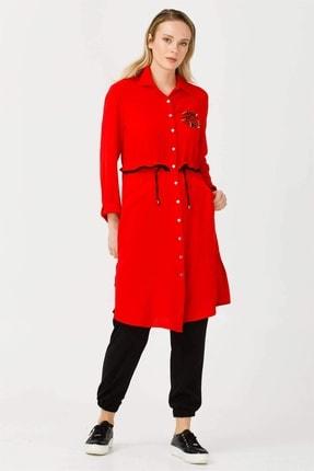 Moda İlgi Kadın Kırmızı Modailgi  Yaka Uzun Taşlı Tunik