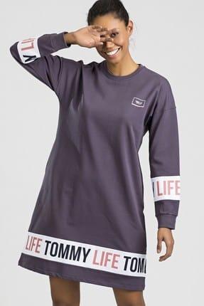 TOMMY LIFE Baskılı Mor Spor Elbise 03474
