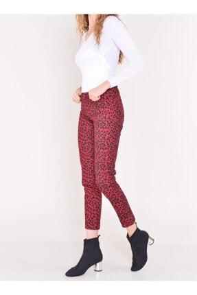 Bsl Kadın Leopar Desenli Havuç Paça Pantolon Kırmızı