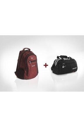 Escape  Unisex 307 Kırmızı Laptop Bölmeli Günlük Sırt Çantası + 110 Siyah Spor Çantası