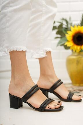Muggo Kadın Siyah Topuklu Terlik Dprgzhw720