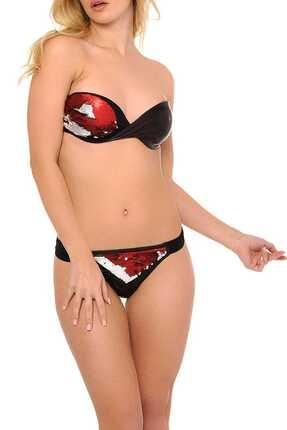 Reflections Kadın Kırmızı Luxury Dolgusuz Straplez Bikini Takımı L1905BKD 056