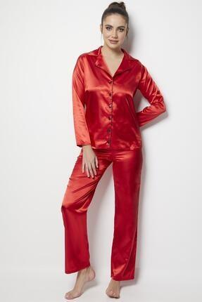 Miorre Kadın Kırmızı Saten Uzun Kol Pijama Takımı