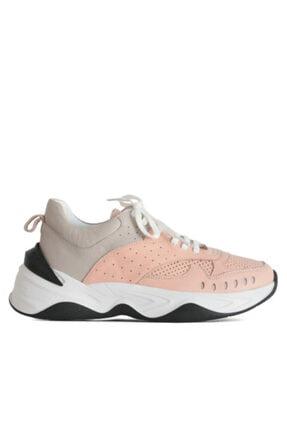 Beta Kadın Hakiki Deri Sneaker Spor Ayakkabı Gri-pudra