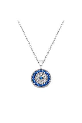 Herisson Kadın 925 Ayar Gümüş Zirkon Mavi Beyaz Taşlı Yuvarlak Kolye