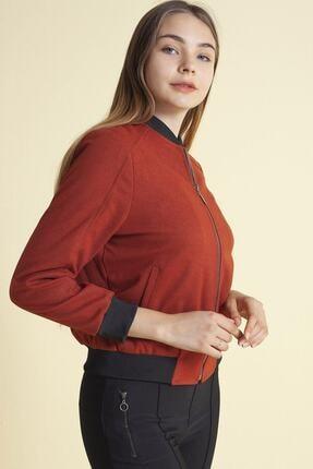 Fashion Friends Kadın Kremit Fermuarlı Hakim Yaka Ceket