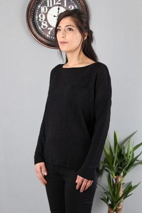 Günay Kadın Bluz Etkm3570 Triko Mevsimlik O Yaka Ince Triko-sıyah