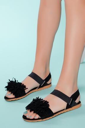 Muggo Sndlt04 Kadın Püskül Sandalet Hediye
