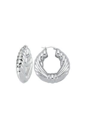 LUZDEMIA Flame Hoop Earring - White